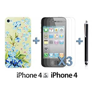 OnlineBestDigital - Carving Pattern Hard Back Case for Apple iPhone 4S / Apple iPhone 4 - Style B with 3 Screen Protectors and Stylus