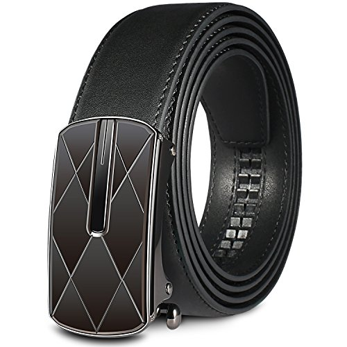 Men's Black Genuine Leather Ratchet Dress Belt with Automatic Buckle