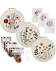 Sungea 3 Sets Full Range Embroidery Kit for Beginner, 8x8 inch Floral DIY Craft Needlework Kits Including Flower Cloth Pattern and Instructions,Embroidery Hoop,Color Threads and Tools
