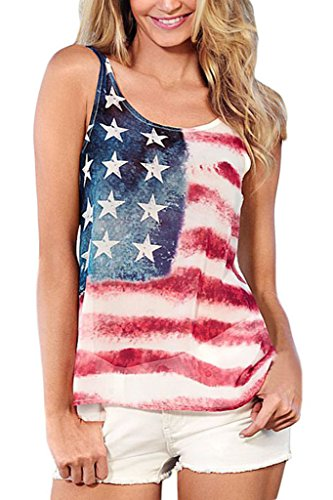 Happy Sailed Women Fashion American Flag Tank Top Vest, Medium White - Flag Top Shirt