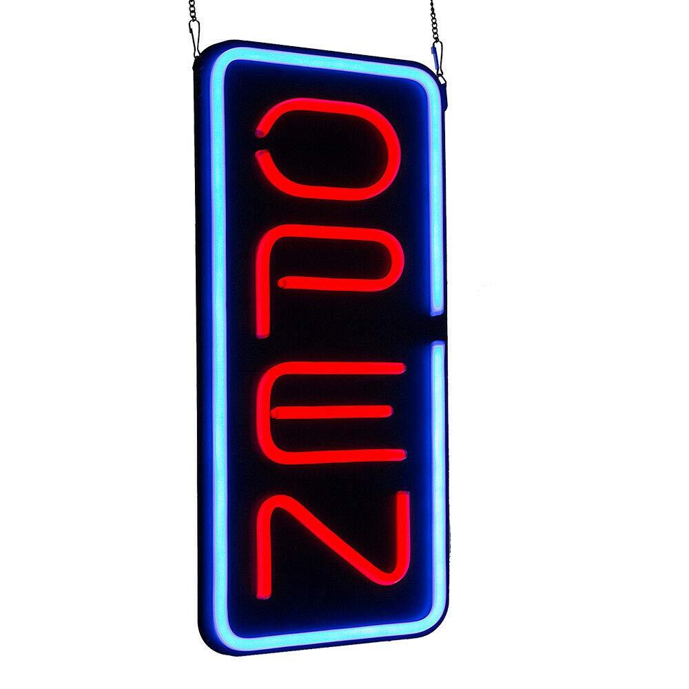 "LED Light OPEN Neon Business Sign 23.6/""X11.8/"" Vertical Bright Rectangular Bar US"