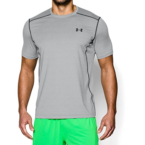 Under Armour Men's Raid Short Sleeve T-Shirt, True Gray Heather (025)/Black, (Heatgear Gray T-shirt)