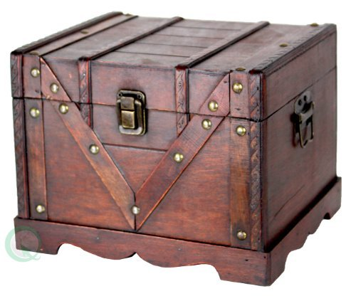 Vintiquewise QI003027.S Small Wooden Box, Old Style Treasure Chest ()