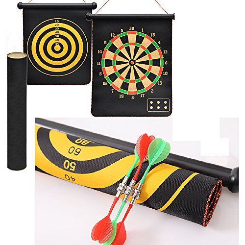 Flight Hanging - WNOLTEAB DartBoard Fabric Double Sided Hanging Rubber Roll-up Magnetic Dart Board Set with 6PCS Dart Flights