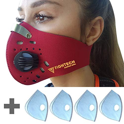 FIGHTECH Children Dust Mask | Youth Mouth Mask Respirator with 4 Carbon Filters for Air Pollution, Pollen Allergy | Washable and Reusable Kids Neoprene Half Face Mask (Red)