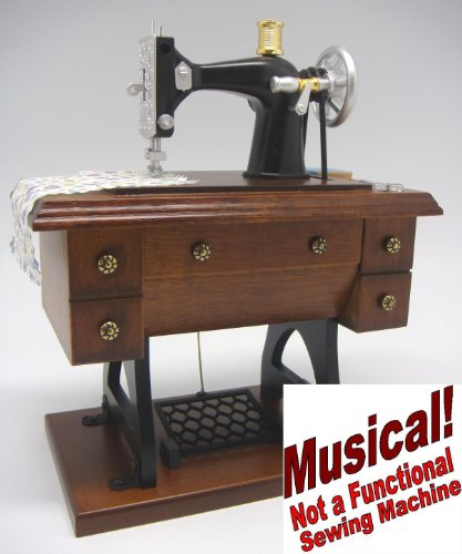 (Musical - 7¾ Inch Tall Antique Treadle Sewing Machine -(Item # 46))