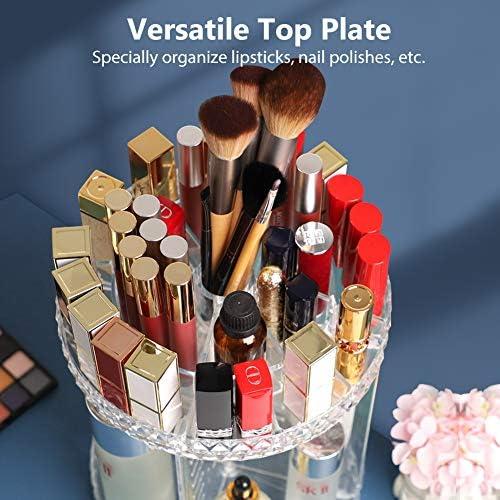 Syntus Makeup Organizer 360 Rotating, DIY Adjustable Bathroom Makeup Carousel Spinning Holder Rack, Large Capacity Cosmetics Storage Box, Fits Makeup Brushes, Lipsticks, Clear