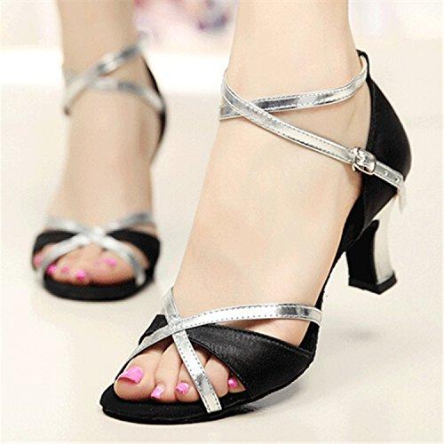 Black danse Tango Dance Dance 6CM Cadeaux Silver danse 36 latine YFF femmes chaussures wqRpPISSx