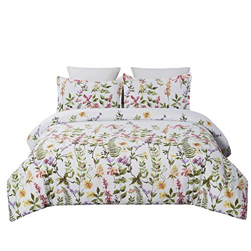 YEPINS Microfiber Duvet Cover Set with Zipper Closure, Plant and Floral Pattern Reversible Design, Greyish Background, Queen Size(90X90 Inch)-3 Piece (1 Duvet Cover and 2 Pillow Shams)