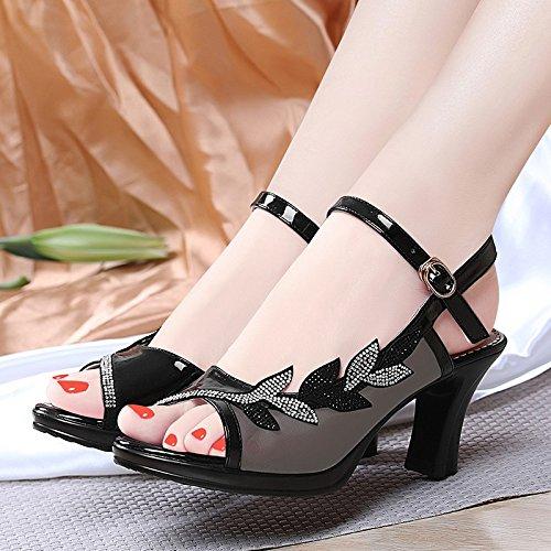 Nuovi con Tacchi le alti con alti Jqdyl di della donna con sandali parola estate da tacchi casual black madre donna fibbia le da scarpe scarpe RqEndZ