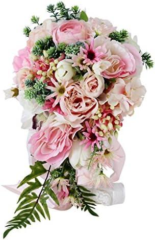 FLAMEER ロマンチックなピンクハンドヘルドブライダルブーケウェディングブライドメイド人工シルクデイジー牡丹保持花ホームパー