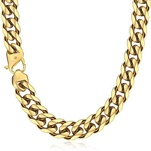 Trendsmax 15mm Heavy Polished Gold Plated Tone Cut Curb Cuban Mens Chain Boys 316L Stainless Steel Necklace 24inch