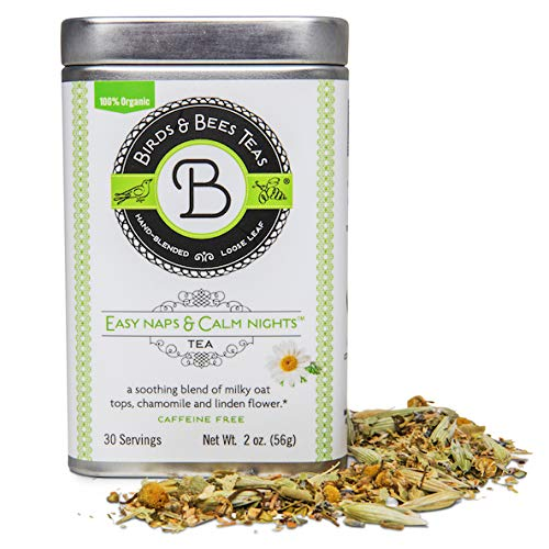 Sleep Tea & Bedtime Tea for Insomnia Relief - Easy Naps & Calm Nights by Birds & Bees Teas - Pregnancy Tea Organic Loose Leaf Blend - Great Calming Tea and Relaxing Tea for The Family! 30 Servings