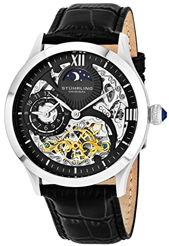 Stührling Original Mens Stainless Steel Automatic Watch, Black Skeleton Dial, Dual Time, AM/PM Sun Moon, Black Leather Band, 571 Series (Automatic Moon Mens Watch)