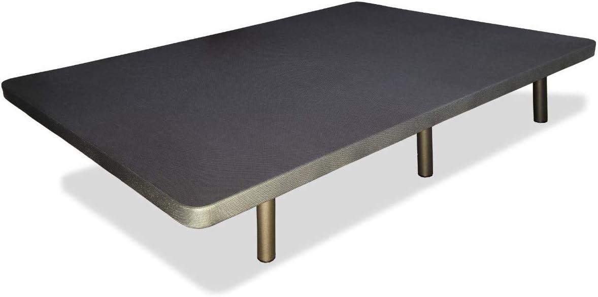 Abitti Base tapizada + 6 Patas cilíndricas metálicas, 5 Refuerzos TRANSVERSALES, Tubo 40x30 MM, Tejido 3D Transpirable, 150x190CM, 6CM Grosor. Color ...