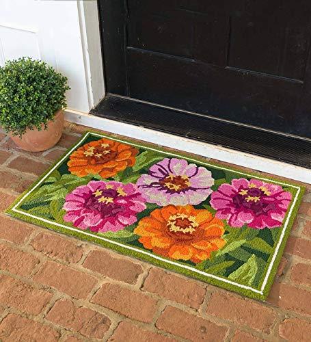 Plow & Hearth Indoor/Outdoor Flowers Hooked Accent Rug (Zinnia)