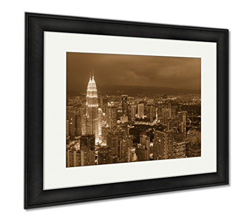 Ashley Framed Prints Kuala Lumpur City Skyline In Malaysia Note Soft Focus At 100 Best At Smaller, Wall Art Home Decoration, Sepia, 26x30 (frame size), Black Frame, - Cities In Malls Twin The