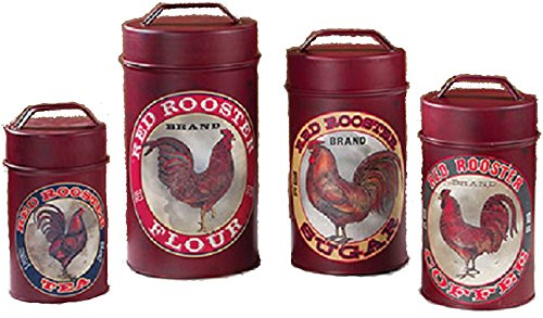 Primitive Style Food Safe Red Rooster Canisters Set of 4