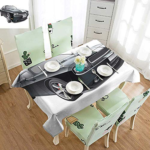 DILITECK Polyester Tablecloth Cars Black Modern Pony Car with White Racing Stripes Coupe Motorized Sport Dragster Easy to Clean W70 xL102 Black Grey - Coupe Provincial