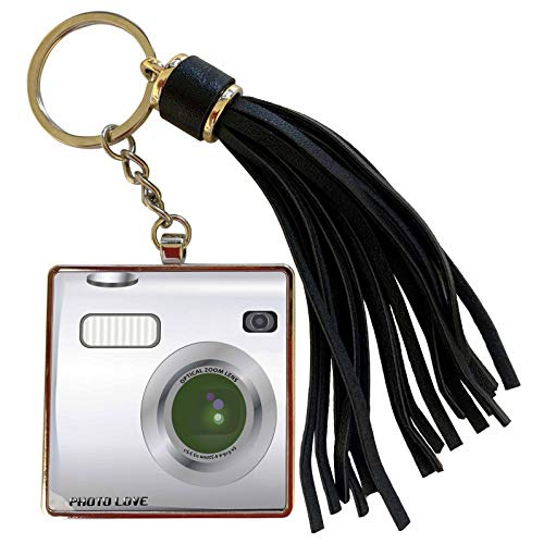 3dRose InspirationzStore Camera graphic - Silver Camera square design - unique novelty gift for photography fans and photographers - Tassel Key Chain (tkc_57458_1)