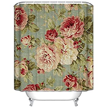 Beautiful Vintage Rose Floral Polyester Waterproof Shower Curtain