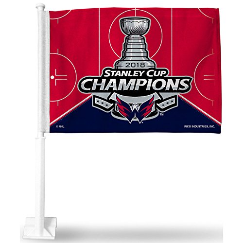 (Rico Industries NHL Washington Capitals 2018 Stanley Cup Champions Car Flag, with White Pole)