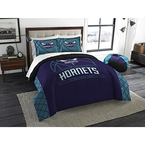 3pc NBA Charlotte Hornets Comforter Full Queen Set, Blue Pur