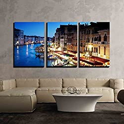"wall26 - 3 Piece Canvas Wall Art - Grand Canal in Venice, Italy at Sunset - Modern Home Decor Stretched and Framed Ready to Hang - 24""x36""x3 Panels"
