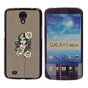 // PHONE CASE GIFT // Duro Estuche protector PC Cáscara Plástico Carcasa Funda Hard Protective Case for Samsung Galaxy Mega 6.3 / Mujer floral /