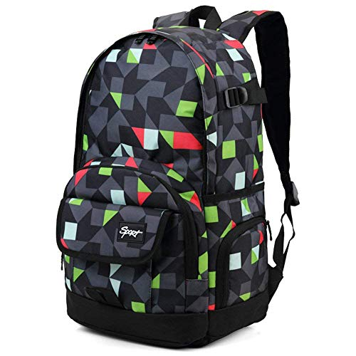 Ricky-H Stylish Pattern Multi-Purpose Backpack for Students, Men & Women, Fits Laptop up to 15.6 Inch-Grey & Green