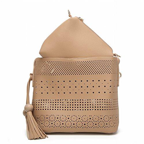 Modische Mutter Tasche Kleine Frische Hohle Eimer Tasche Casual Schulter Handtasche Temperament Diagonal Handtaschen , grau
