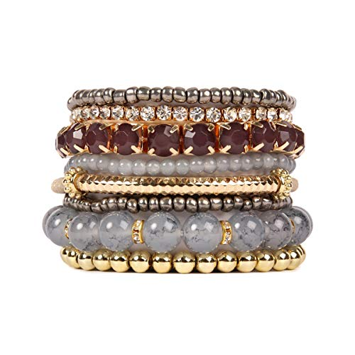 RIAH FASHION Multi Color Stretch Beaded Stackable Bracelets - Layering Bead Strand Statement Bangles ([L-XL] Grey)