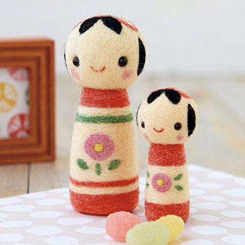 フェルト羊毛で作るこけしのペアマスコットA手作りキット スターターセット(針・マット)付き