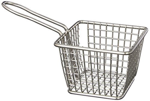American Metalcraft FRYS443 Stainless Steel Square French Fry Basket Holder, 4-Inch, - Basket Serving Square