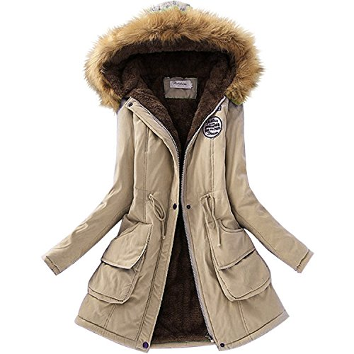 MASCHERANO Autumn Warm Winter Jacket Women Fur Collar Coats Jackets Long Slim Down Parka Hoodies Parkas Khaki S