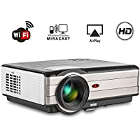 WiFi Wireless Android Projector Home Cinema Theater WXGA 3500, 50000 Hours LED Lamp Video Projector Keystone Correction, Support 1080p Full HD Airplay Miracast for Tablet Smartphone iPhone TV