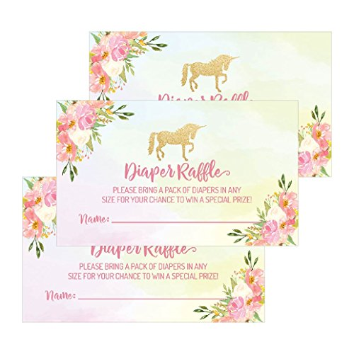 (25 Unicorn Diaper Raffle Ticket Lottery Insert Cards For Pink Girl Flower Floral Baby Shower Invitations, Supplies Games For Gender Reveal Party, Bring a Pack of Diapers to Win Favors Gifts and Prizes)