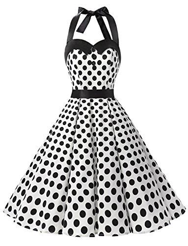 50s Mujer Halter y Estampado Lunares Corto Vestidos Retro Fiesta Cuello 60s White Vintage Dressystar Flores Dot Black Rockabilly wxCgF1q6nP