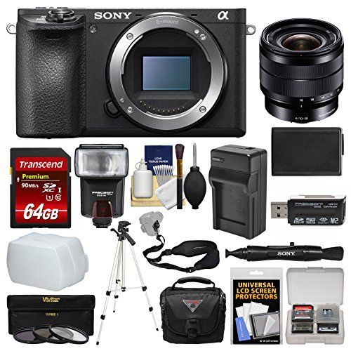 Sony Alpha A6500 4K Wi-Fi Digital Camera Body with 10-18mm f/4.0 Lens + 64GB Card + Case + Flash + Battery & Charger + Tripod + Kit For Sale
