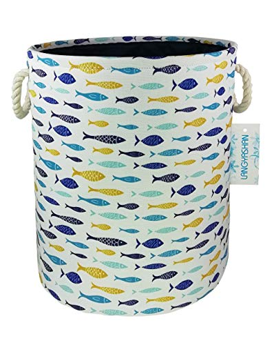 Laundry Clothes Toy Hamper - Storage Bin,Canvas Fabric Collapsible Organizer Basket for Laundry Hamper,Toy Bins,Gift Baskets, Bedroom, Clothes,Baby Nursery(Thick Fish)