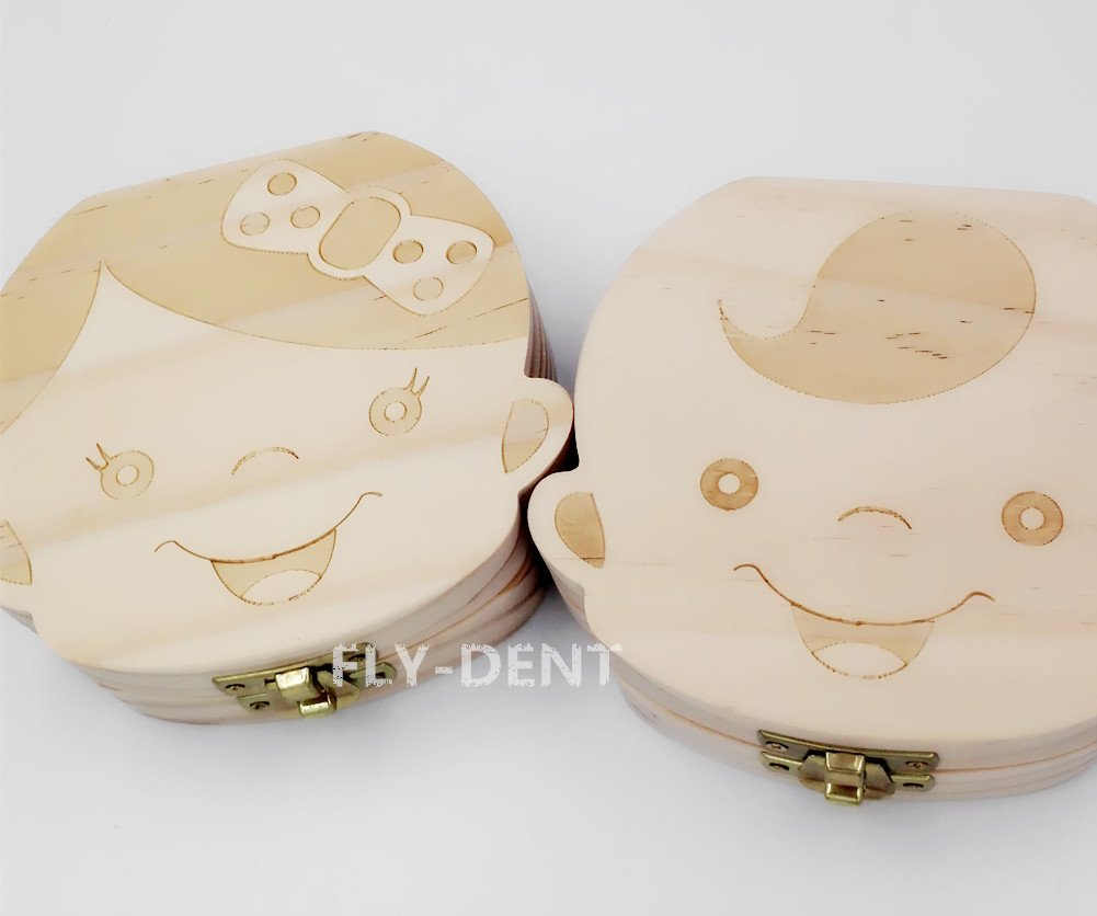 Wood Girl Shape Baby Teeth Box English Version 1Pc by fly-dent (Image #2)