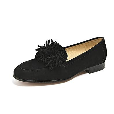 edcd0eb4a67 Honeystore Women s Slip-on Tassels Flats Fringed Leather Shoes Black 5.5  B(M)