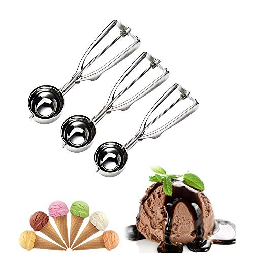 Cream Ice Cookies Scoop - Cookie Scoop Set, Ice Cream Scoop Set, 3 PCS Cookie Scoops for Baking Include Large-Medium-Small Size,RW Chef Select 18/8 Stainless Steel, Secondary Polishing