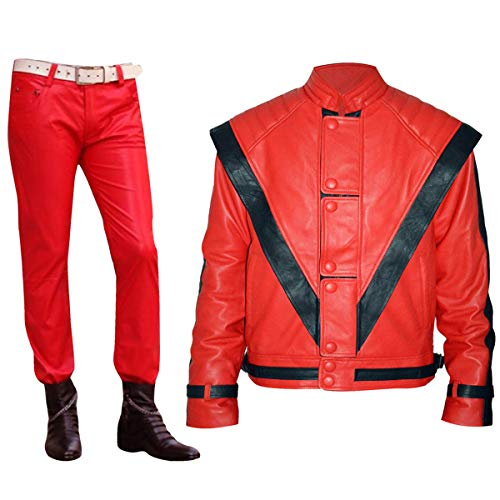 Mens Vintage Michael Jackson Thriller Biker Red Leather Jacket ()