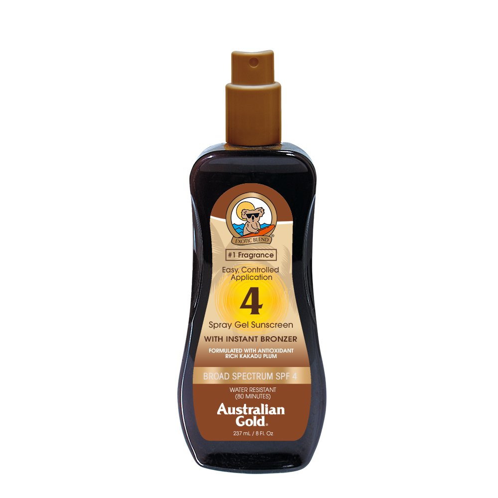 Australian Gold SPF 4 Spray Gel Sunscreen with Instant Bronzer, 8 Fl Oz