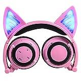 Eoncore Kids Stereo Wireless Bluetooth Headphones LED Glowing Cat Ear Foldable Over-Ear Headsets