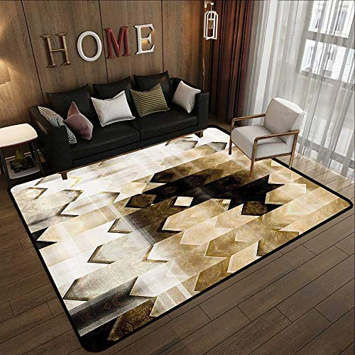 Rugs,Abstract Decor,Artistic Geometric Tiles in Triangle Cool Modern Design Artwork,White Brown and Black 47