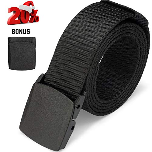 Dragon Ninja Tactical Belt Nylon Web Canvas Webbing Adjustable Waterproof Military Style Includes Two Removable Buckles