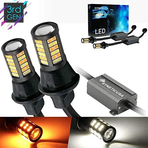 Error Free Canbus Dual Color Switchback LED Turn Signal Light Bulbs No Hyper Flash All in One Built In Resistors (Turn Signal-Amber/White, 7443)