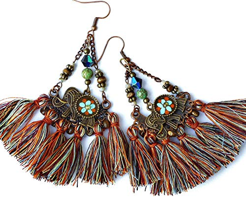 Funky Long Large Boho Tassel Earrings with Hand Painted Indian Elephant Charms Bohemian Jewelry for Women ()